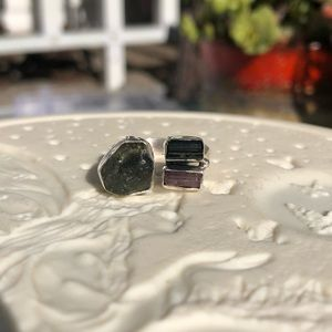Moldavite Pink/Green Tourmaline Sterling Ring 8-9